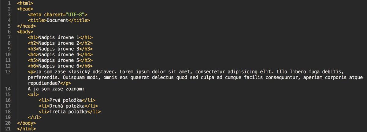 štruktúra html dokumentu