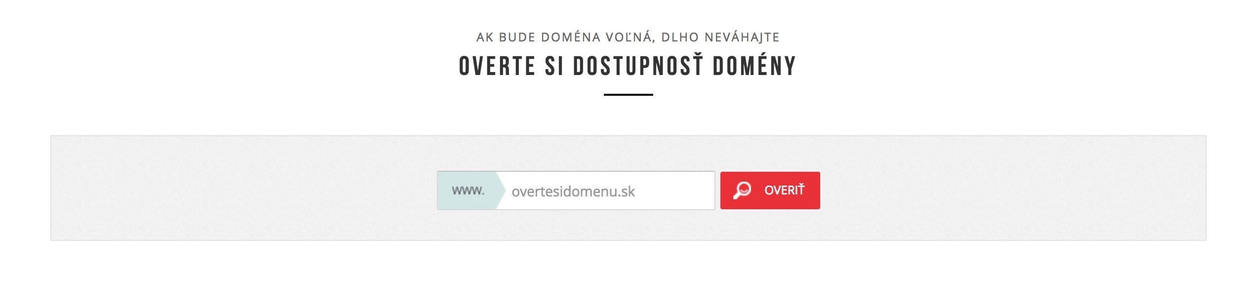 overenie dostupnosti domeny